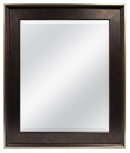 MCS Two-Tone Wall Mirror, 22 by 16-Inch, Bronze - The 3 inch wide frame has an antique bronze finish with brushed champagne outer edge Overall Measurements: 22 Inches x 28 Inches Reflection Measurements: 16 Inches x 20 Inches - bathroom-mirrors, bathroom-accessories, bathroom - 41hpb7X5A8L -