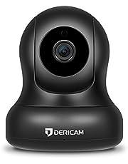 Dericam HD WLAN IP Kamera, Überwachungskamera mit Pan/Tilt, 4-Fach Digitaler Zoom, Nachtsicht, Audiofunktion, Schwarz