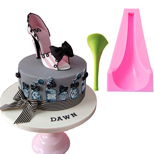 Anyana 3D big Stilleto Baking Molds High Heel Silicone Fondant molds Lady Shoe Cake Decorating Tools Gumpaste cupcake topper decorations fashion resin Clay Chocolate Candy Molds Non stick easy to use