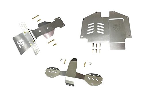 GPM Statinless Steel Skid Plates For Front, Center, Rear Chassis For Traxxas Unlimited Desert Racer 4X4 (#85076-4) - 18Pc Set