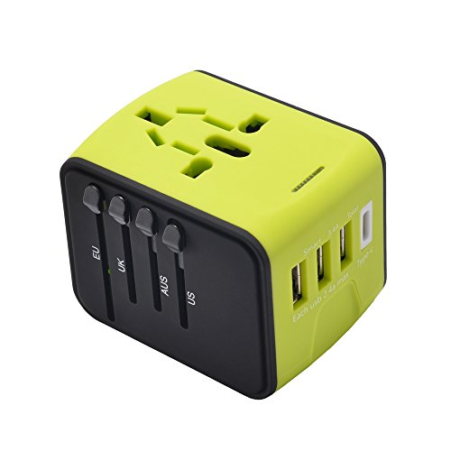 Worldwide Travel Adapter, High Speed 2.4A USB, 3.0A USB Type-C Wall Charger,European Adapter, Worldwide AC Outlet Plugs for Europe, UK, US, AU, Asia(Green) ()