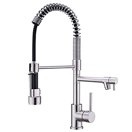 Kitchen Faucets with Pull Down Sprayer, Avola Brushed Nickel Commercial  Single Handle Kitchen Sink Faucet,Contemporary Kitchen Sink Faucet