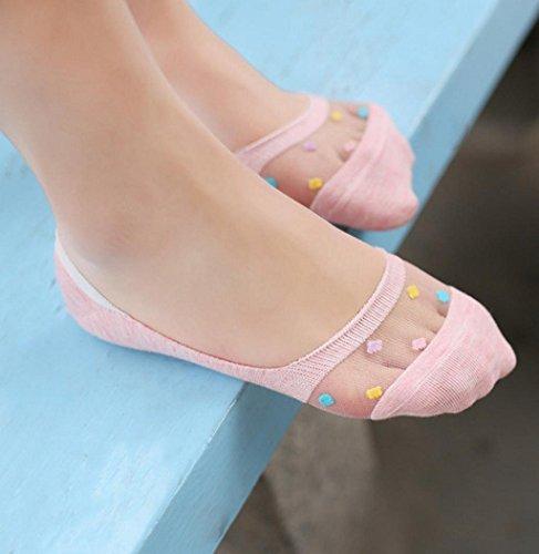 Sagton 1 Par De Mujeres Candy Colors Calcetines Cortos Invisible Low-cut Liners Socks Pink
