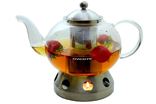 Ovente 51oz Heat Tempered Glass Teapot with Tea Infuser and Stainless Steel (Make Tea Teapot)