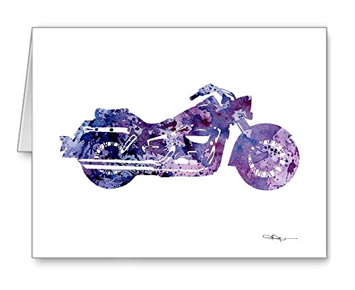 ''Motorcycle'' - Set of 10 Harley Davidson Watercolor Note Cards With Envelopes by DJ Rogers Fine Art