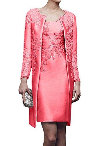 Spitze Abendkleider Etuikleider mit Knielang Wassermelon Braut Langarm Ballkleider La Marie Brautmutterkleider Jaket Iqfw4B8