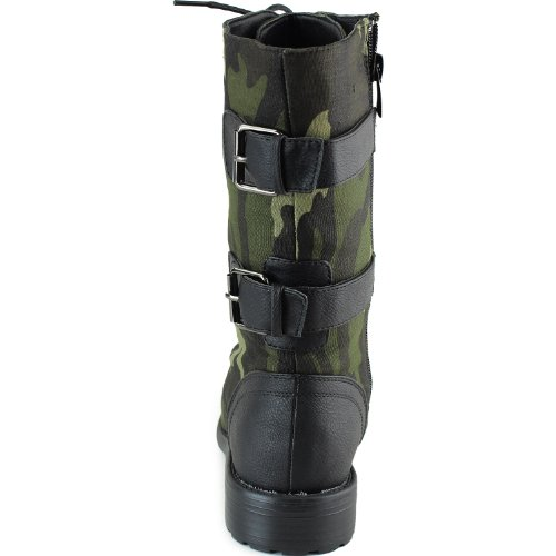 Top Moda Frauen-Pack-72 Lace Up Combat Boot Schwarze Tarnung