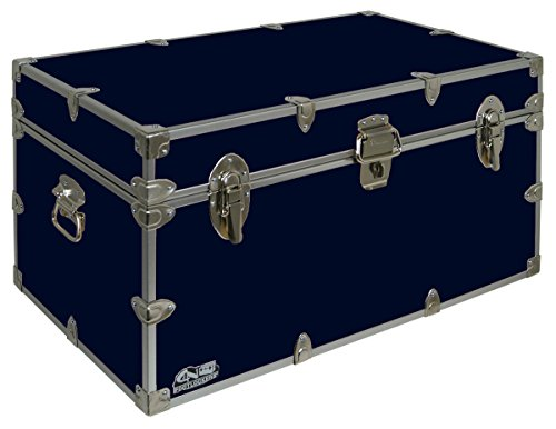 - C&N Footlockers UnderGrad Storage Trunk - College Dorm Chest - Durable with Lid Stay - 32 x 18 x 16.5 Inches (Navy)