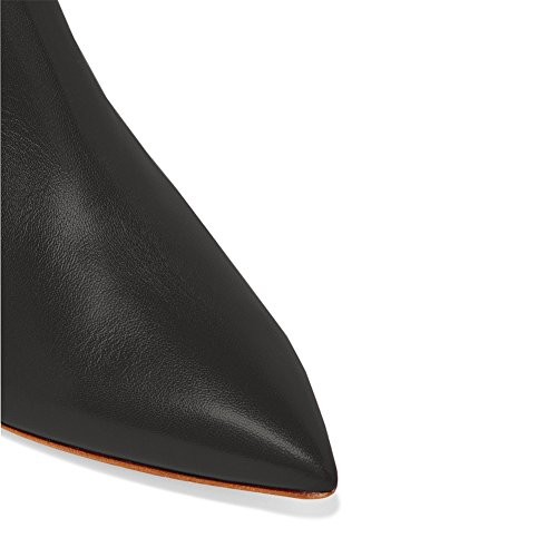Heel Comfort Dress Zipper Boots Shoes Kitten Black Pointed Toe Low Ankle Matte Lutalica Women's 0XfqwF