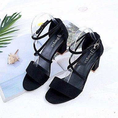 LvYuan Mujer Sandalias Confort Cachemira Verano Casual Paseo Confort Hebilla Tacón Robusto Negro Caqui 7'5 - 9'5 cms Black