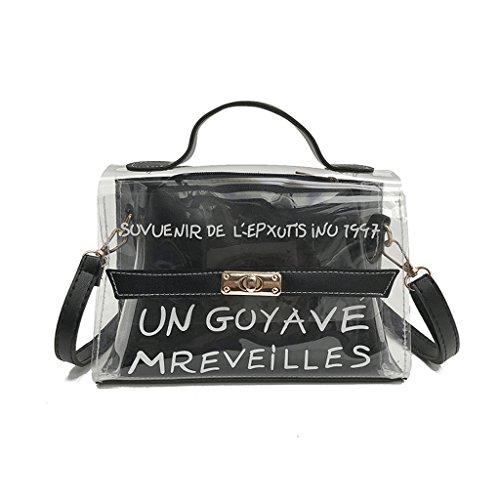 Dabixx da donna in PVC trasparente a spalla Crossbody borse estate handbag-brown, Green, 24x10x17cm/9.45x3.94x6.69 Nero