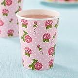 Shabby Chic Vintage Motif roses Lot de 8 gobelets en Papier idéal pour les fêtes d'été