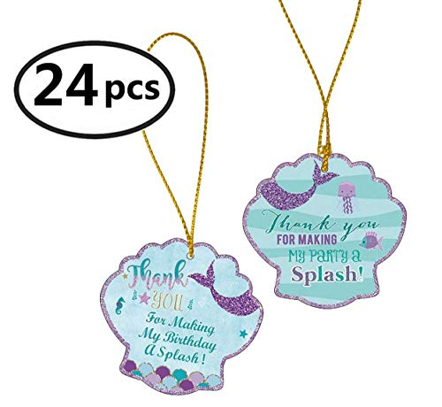 Famoby Mermaid Thank You Tags with String Thank You For Making My Party Tags Mermaid Gift Tags for Baby Shower Birthday Wedding Mermaid Theme Party Supplies 24pcs -