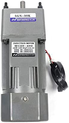 41hpdwUjA0L. AC 110V 120W Ac Gear Motor Electric Single-phase Motor Gear Motor 0-45RPM Electric Variable Speed Adjustable Controller Governor Geared Motor and Adjustable Speed Controller Combo (Reduction ratio:1:30)     This is a geared AC motor with a working voltage of AC 110V.Less noise, stronger.It's an electric motor, widely used in homes, handcrafts, school projects, model churning soda machines, low-speed machines, and any other product you want.Its stability is strong, the use is more assured, also has the governor, the use can be more convenient. The 120W deceleration motor can achieve super fast speed of 1350 RPM, thus ensuring high efficiency.And the motor has the characteristics of heat resistance, low noise, high quality and long service life.The motor has a compact body, lightweight structure, easy to carry and operate. The single-phase motor also has a reduction gear box and a governor, the speed regulator has a large torque, with a variety of optional speeds.Therefore, it is more convenient to use. You can adjust different speed according to different products to achieve the desired effect. It is very convenient and fast to use. Name: geared motor. Rated voltage: AC110 V. Rated speed: 45RPM/MIN. Reduction ratio: 1:30(30K). Power Phase: single-phase. 120W geared motor:6.5inch * 3.5inch *3inch. Reducer size: 2.5inch*3.5inch *3inch. Torque: at full speed 20nm. 120W gear motor Output speed: 45~0RPM. Product List:1 * Gear Motor, 1 * speed controller, 1 * Reducer. Our products are shipped directly from the US warehouse. We have strict quality control system, our products are put into the market after rigorous testing. We provide friendly customer services forever. If you have any questions or quality issue,please feel free to contact us.