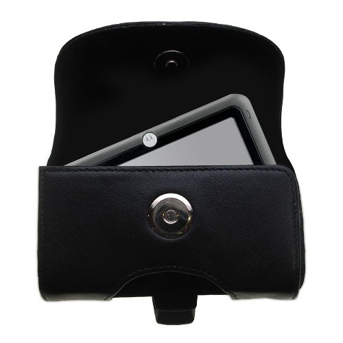 Motorola Leather Pda Case - Belt Mounted Leather Case Custom Designed for the Motorola MOTONAV TN30 - Black Color with Removable Clip by Gomadic