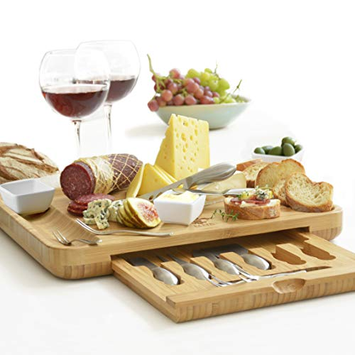 Premium Cheese Board & Utensils Gift Set  Extensive Serving Set X- Large Bamboo Board & 6 Stainless Steel Cheese Knives & 6 Appetizer Forks & 3 Ceramic (silver, with cermic dishes)