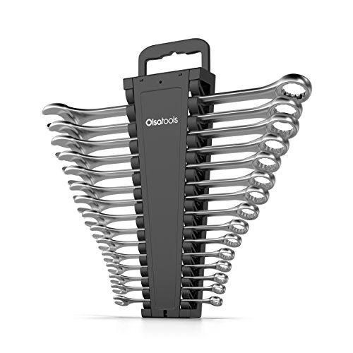 Olsa Tools Portable Wrench Organizer | 15-Slot Wrench Holder for Organizing Wrenches | Black by Olsa Tools