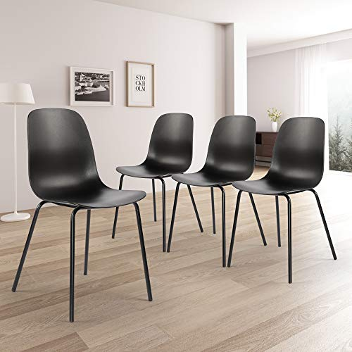 Dining Chairs Set Of 4 Modern Stylish Kitchen Chairs With Pp Main Body And Metal Legs Simple Dining Side Chair For Kitchen Dining Room Living Room Bedroom Lounge Black Pricepulse