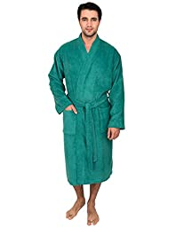 TowelSelections Turkish Cotton Bathrobe Terry Kimono Robe for Men Large/X-Large Green Lake