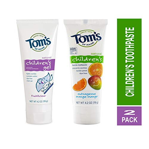 Toms of Maine Natural Children's Toothpaste Fruitilicious Flavor and Anticavity Fluoride Children's Toothpaste, Outrageous Orange-Mango 4.2 Ounce Kit ()