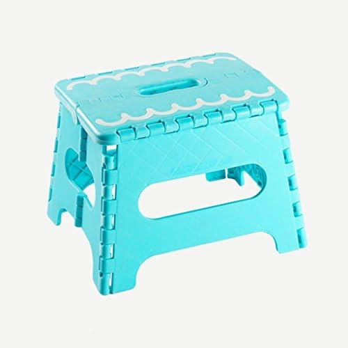 ファッション折りたたみスツール厚いプラスチックポータブル屋外折りたたみ足ステップスツール多目的折り畳み式イージーストレージミニスモールベンチ (Color : Blue, Size : L20.8*W27*H25cm)