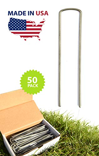 PERFECT PLANTS Landscape Staples 6 Inch Metal Extra Heavy Duty Sod and Garden Staples 50 Pack Made in The USA — Secure Sod, Garden Fabric, Irrigation Systems, and Lawn Ornaments