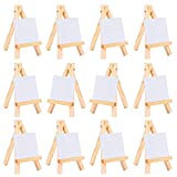 2.75 by 3.5 Inch Mini Canvas and 3 by 5 Inch Mini Wood Easel Set for Painting Drawing Craft, 12 Pack