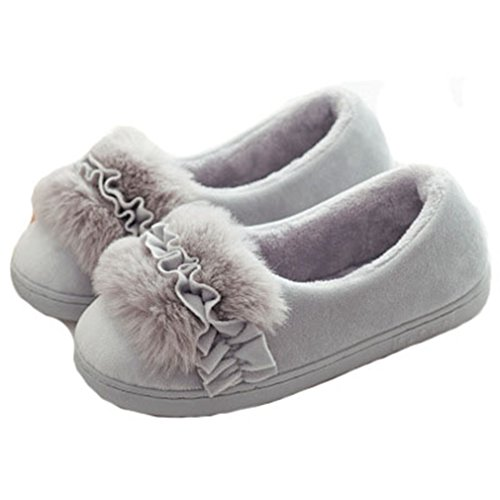 GIY Womens Winter Warm Slippers, Fur Plush Slippers, Indoor/Outdoor Non-slip Soft Sole House Slippers Grey