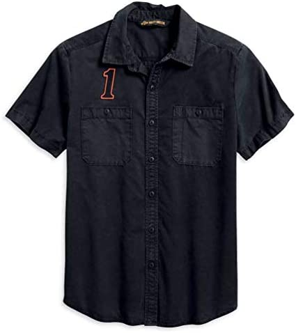 Harley-Davidson Men`s 1 Racing Logo Button Front Short Sleeve Shirt 96009-20VM
