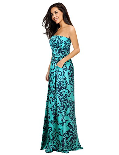 Leadingstar Women's Summer Strapless Vintage Floral Print Maxi Dress (Green, L)
