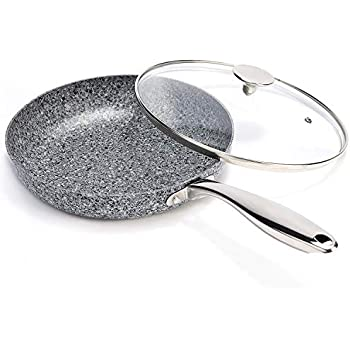 MICHELANGELO 10 Inch Frying Pan with Lid, Non Stick Granite Frying Pan with Stone-Derived Coating, Nonstick Frying Pans with Lid, Stone Skillets 10 Inch, Granite Skillet with Lid- Induction Compatible