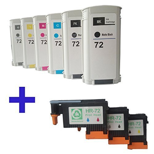 Tyjtyrjty Compatible Hp 72 Ink Cartridges 6 Packs & 72 Printhead Print Head 3 Packs Replacement for Hp 72 Ink Cartridges and Hp 72 Printhead