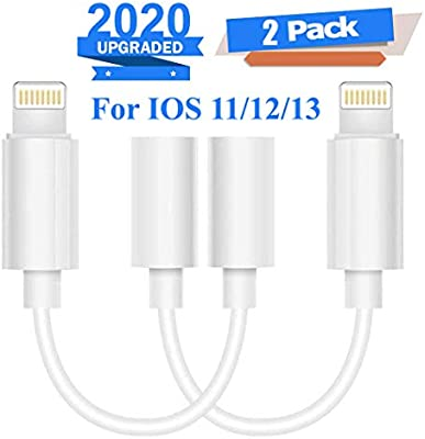 Lighting to 3.5 mm Headphone Adapter Earphone Earbuds Adapter Cable 2 Pack,Easy to Use,Compatible with Apple iPhone X//XS//Max//XR 7//8//8Plus Plug and Play Satellite Finders