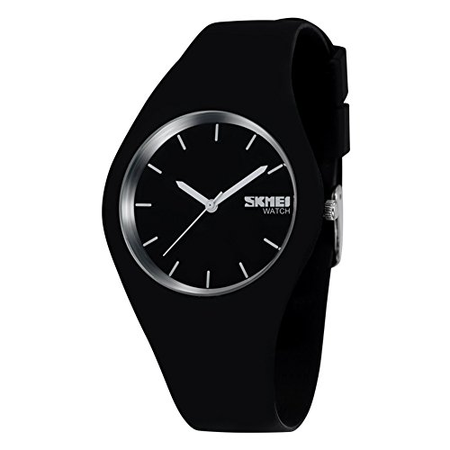 Sports Unisex Fashion Casual Wrist Analog Quartz Compass Water Resistant Simple Watch with 43mm Case, Silicone Strap - Black