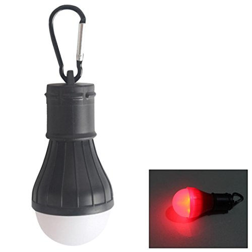 Yeefant 1 Set Lightweight Compact and Durable Outdoor Emergency Lamp LED Camping Tent Fishing Lantern Hanging Light Black,Not Included Battery,0.35x0.17 Ft, Black Red Light -