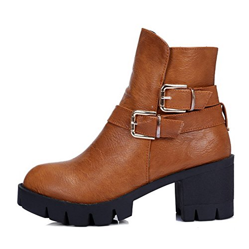 PU Heels Women's top Boots Low Brown Toe Kitten AgooLar Zipper Closed Round xB6qSYnY70