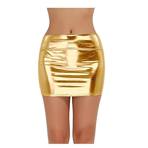 IGIG Women's PVC Leather Shiny Stretchy Metallic Liquid Wet Look Mini Skirt (Gold)