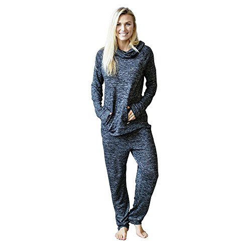 Hello Mello Carefree Threads Womens Loungewear Top With Pocket and Cowl Neck, Matching Drawstring Bag- Black Medium 8-10