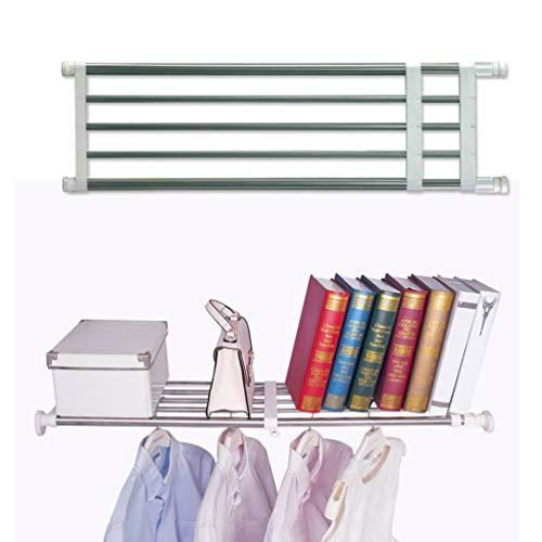 Baoyouni Closet Tension Shelf Rod Heavy Duty Wardrobe Organizer Adjustable Storage Shelves Rack DIY Closet Dividers Separators for Kitchen Bathroom Bedroom Garage, 19.69-31.5 -