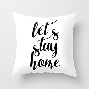 18x18 Let'S Stay Home Throw Pillow Cover Pillow Cases Decorative Square Cushion Cover Zopoa