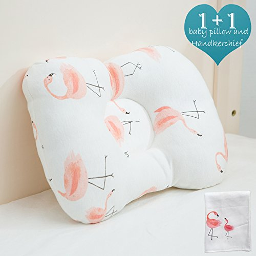 Summer Crib Set - Organic Newborn Baby Pillow, Washable and Breathable Cotton be Used in Fabric and Core, Adjustable Height and Ergonomic Design to Prevent Flat Head Syndrome. A Cute Handkerchief is Included(Flamingo)