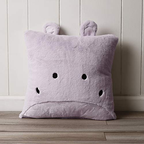 18-Inch Purple 3D Hippo Throw Pillow Cute Animal Design Sofa Cushion Safari Jungle Zoo Animal Theme Decorative Pillow For Kids Bedroom Embroidered Eyes Nose Adorable Modern Style, Soft Plush Polyester