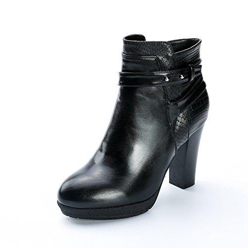 Alexis Leroy - Botas de Tacón de Dise?o de Efecto Serpiente Mujer Negro 38 EU/5 UK A70zzvlmnQ