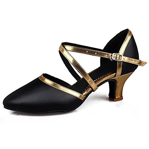 Donna Leather standard Scarpe ballo Nero Model oro Scarpe da Ballroom Tacco da ballo IT515 5cm latino SWDZM zndx8wqz