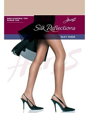 Hanes Women`s Silk Reflections Non-Control Top Sheer Toe Pantyhose,00715,CD