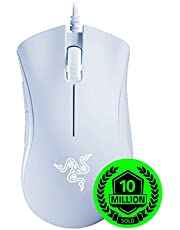 Razer Deathadder Essential Gaming Mouse: 6400 DPI Optical Sensor - LED Lighting - 5 Programmable Buttons - Mechanical Switches - Rubber Side Grips - White