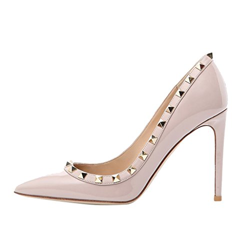 Jushee Women's Classic Pointed Toe High Heels Rivets Studded Pumps Party Dress Shoes Nude Patent Y75kxskr