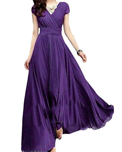 Swing Domple Beach Bohemia Party Neck Maxi Dress Pleated Sexy Long 4 Women's V wrSgTrXq