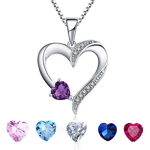 YL Women's Amethyst Necklace Sterling Silver Heart Pendant Cubic Zirconia Purple Crystal Jewelry Valentine's Day Gift