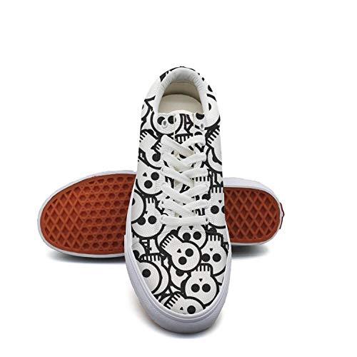 Young Men Halloween skull black white skull Skateboard Shoes Cool Shoe (Skateboard Shoe White Skull)